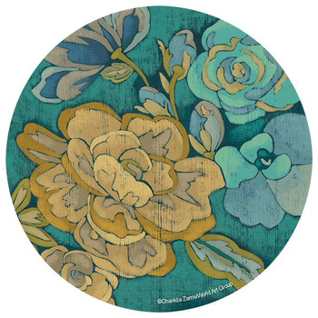 Trousseau Chintz Flowers Round Coasters by Chariklia Zarris, Set of 8