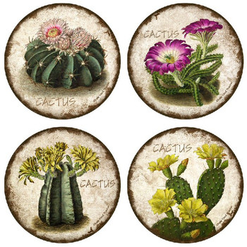 Cactus Flowers Beverage Coasters, Set of 8