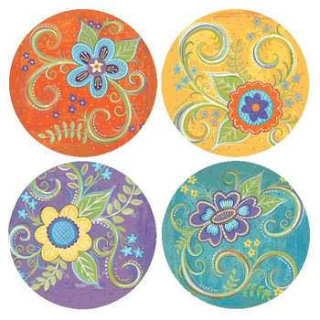 Gypsy Blossoms Flowers Round Coasters by Annie LaPoint, Set of 8