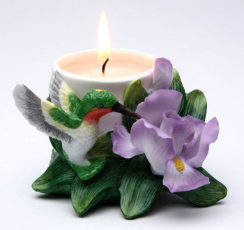 Hummingbird with Iris Flower Votive Candle Holders, Set of 2