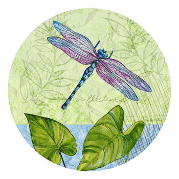 Reflections Dragonfly Round Beverage Coasters by J. Allen, Set of 12