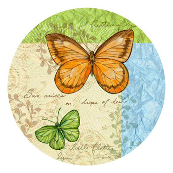 Flutter by Butterfly Round Coasters by Jennifer Alan Designs, Set of 8
