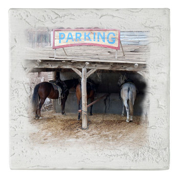 Horse Parking Beverage Coasters, Set of 8