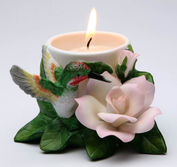Hummingbird with Peace Rose Votive Candle Holders, Set of 2