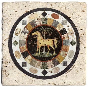 Tabletop II Horse Travertine Stone Beverage Coasters, Set of 8