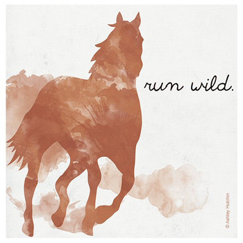 Run Wild Horse Absorbent Beverage Coasters by Ashley Hutchin, Set of 8