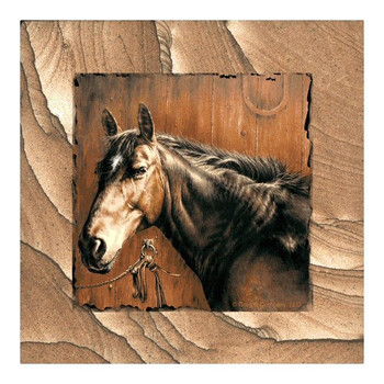 Horse Portrait Cinnabar Sandstone Coasters by Greg & Company, Set of 8
