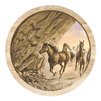 Sacred Passage Running Horses Round Coasters by Persis Weirs, Set of 8