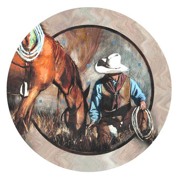 A Single Moment Cowboy & Horse Round Coasters by J.E. Knauf, Set of 8