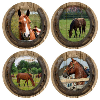 Quarter Horses Beverage Coasters, Set of 8