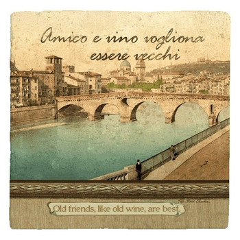 Italian Inspirations Old Friends Beverage Coasters, Set of 12