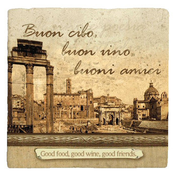Italian Inspirations Good Food Absorbent Beverage Coasters, Set of 12