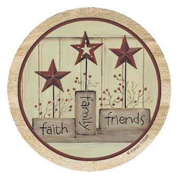 Faith Family Friends Sandstone Coasters by Karen Tribett, Set of 8