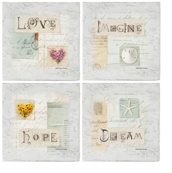Love Letters Beverage Coasters, Set of 8