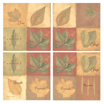 Leaves Family and Friends Coasters by Stephanie Marrott, Set of 8