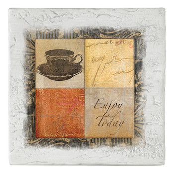 Enjoy Today Coffee Cup Beverage Coasters, Set of 8