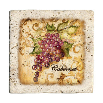 Wine Grapes Travertine Stone Beverage Coasters, Set of 8