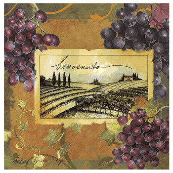 Vineyard Welcome Beverage Coasters by Sandy Lynam Clough, Set of 8