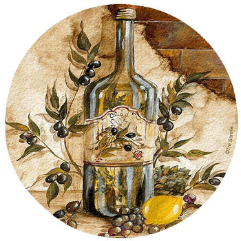Olive Oil Cork Beverage Coasters by Tre Sorelle Studios, Set of 12
