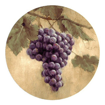 Bunch of Grapes Sandstone Beverage Coasters, Set of 8
