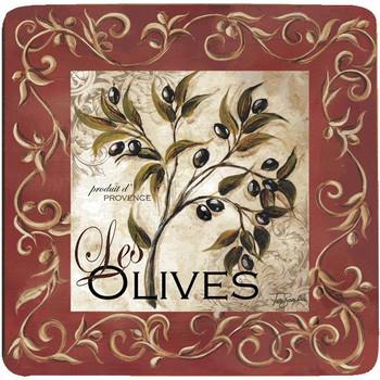 Olive Scroll Beverage Coasters, Set of 8
