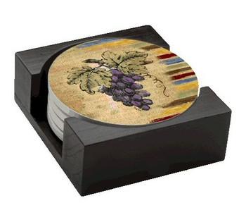Vintner's Bounty Grapes Absorbent Beverage Coasters, Set of 10