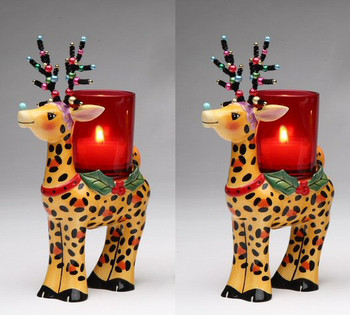 Leopard Print Deer Votive Candle Holder, Set of 2