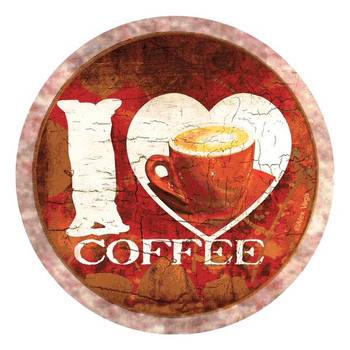 I Love Coffee Absorbent Round Beverage Coasters by Alex Vega, Set of 8