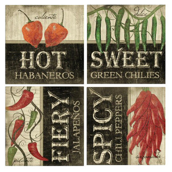 Peppers Absorbent Beverage Coasters by Jennifer Pugh, Set of 8