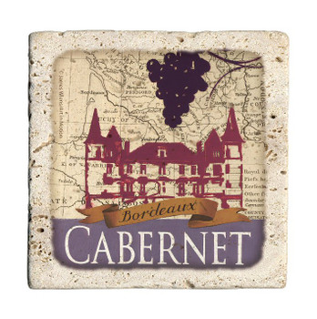 Cabernet Map Travertine Stone Beverage Coasters, Set of 8