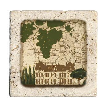 Villa Map Travertine Stone Beverage Coasters, Set of 8