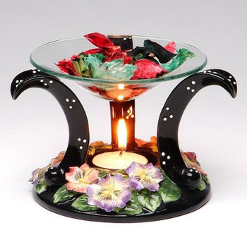 Pansy Flower Floating Glass Tart Burner