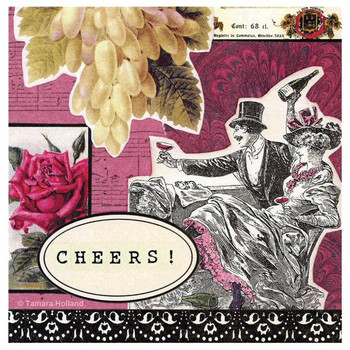 Cheers Absorbent Beverage Coasters by Tamara Holland, Set of 8