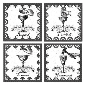 Drunk Assorted Beverage Coasters by Sheree Burlington, Set of 8