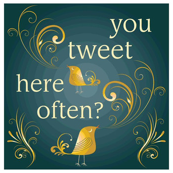 You Tweet Here Often? Absorbent Beverage Coasters, Set of 12