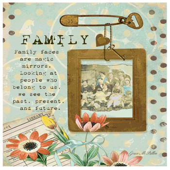 Family Absorbent Beverage Coasters by Grace Pullen, Set of 12