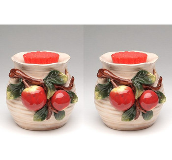 Apple Terra Cotta Tart Burner, Set of 2