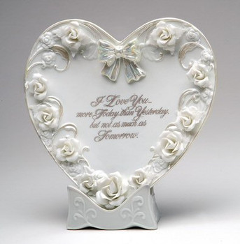 Porcelain Love Plate with Roses