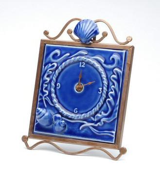 Ocean Wave Clock with Metal Trim