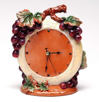Grape Terra Cotta Table Clock, Set of 2