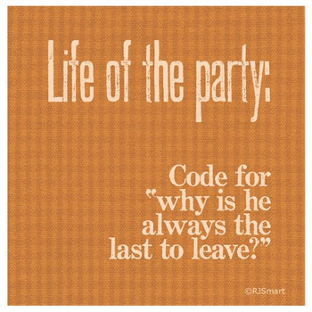 Life of the Party Absorbent Beverage Coasters by RJ Smart, Set of 12