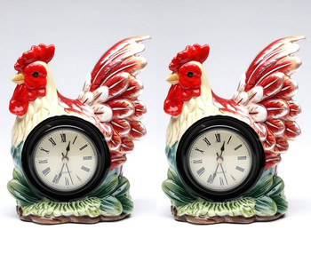 Sitting Rooster Porcelain Table Clock, Set of 2