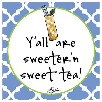 Sweeter 'n Sweet Tea Beverage Coasters by Jill Seale, Set of 12