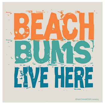 Beach Bums Live Here Absorbent Coasters by Heidi Dobrott, Set of 8