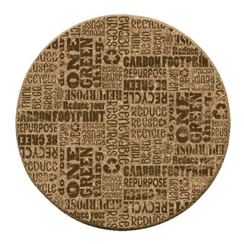 Reuse Recycle Cork Beverage Coasters by Tara Reed, Set of 12