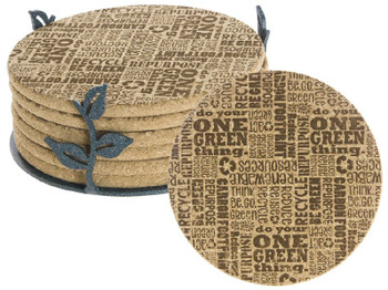 Reuse Recycle One Green Thing Cork Coasters w/Steel Holders, Set of 14
