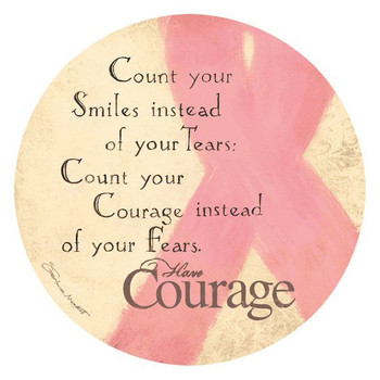 Courage Pink Ribbon Round Coasters by Stephanie Marrott, Set of 8