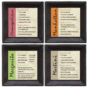 Beverage Recipes Beverage Coasters, Set of 8