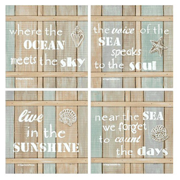 Driftwood Beach Signs Beverage Coasters by Paige Davis, Set of 8