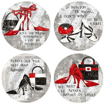 Fashion Forward High Heels Beverage Coasters, Set of 8